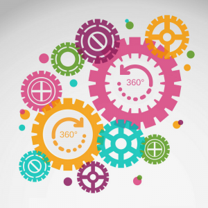 Shows multi-coloured interlocking gears working together meant to convey a beneficial 360-degree feedback system and how many people and factors work together in it