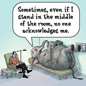 """Elephant in a therapist's couch saying that sometimes even in the middle of the room no one acknowledges it. It's a joke on the the proverbial use of """"the elephant in the room"""" which means any issues too important or striking not to ignore. Just like 360 degree feedback is!"""