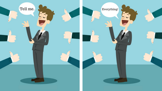 "Depicts an individual over two panels surrounded by various thumbs pointing upward and downward indicating positive and negative feedback received in a 360-degree feedback process. The individual is says ""Tell me"" in the first panel and ""Everything"" in the second panel implying that they are welcoming all the positive & negative feedback"
