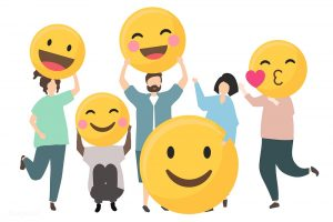 People with happy emotion emoticon