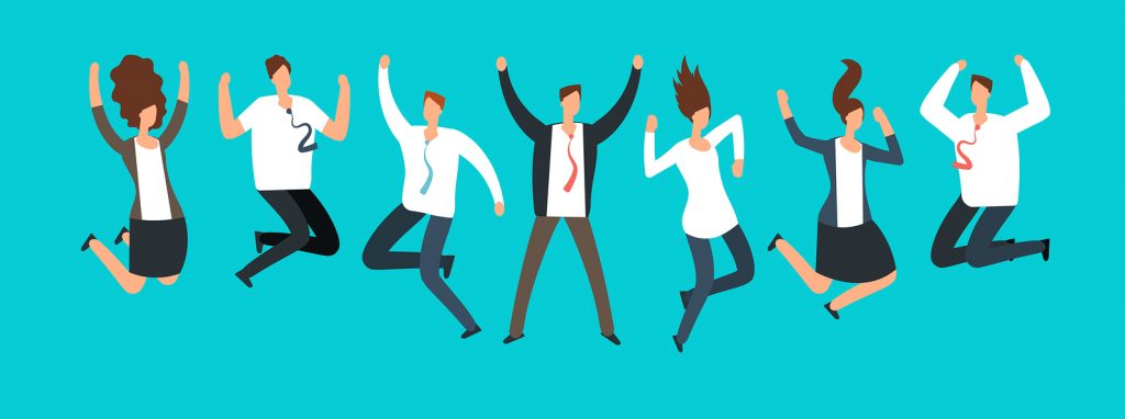 Happy Excited Business People, Employees Jumping Together
